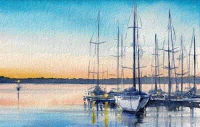 Cuadro Paisaje de verano con barcos de vela en la bahía.