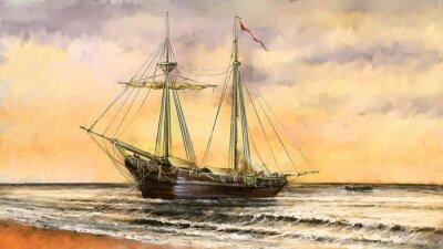 Cuadro Paisaje del mar de las pinturas al óleo. Barcos, barco, pescador. Arte digital