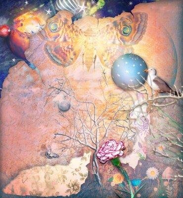 Cuadro Paisaje encantado con árbol embrujado, clavel y butterflye