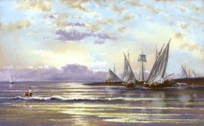 Cuadro Paisaje marino, pescador, óleo, pinturas digitales