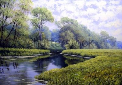 Cuadro Paisaje pintura al óleo, colorido bosque de verano, hermoso río