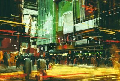 Cuadro Paisaje urbano pintura, multitudes de personas en una concurrida calle de cruce