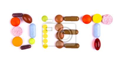 Cuadro Palabra de la dieta hecha de píldoras