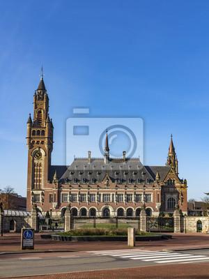 Palacio de la Paz, Vredespaleis, sede de la Corte Internacional de Justicia, órgano judicial principal de las Naciones Unidas, con sede en La Haya, Países Bajos