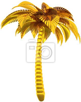 Palmera de oro solo símbolo estilizado naturaleza tropical