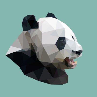 Cuadro panda poligonal, animal geométrico abstracto polígono, illus