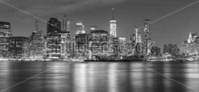 Cuadro Panorama blanco y negro de Nueva York en la noche, vaya EEUU