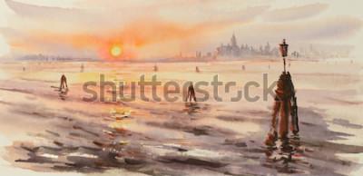 Cuadro Panorama de Venecia laguna al atardecer. Cuadro creado con acuarelas.