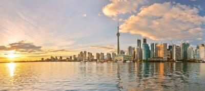 Cuadro Panorama del horizonte de Toronto en la puesta del sol en Ontario, Canadá.