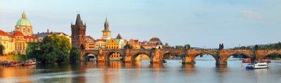 Cuadro Panorama del puente de Carlos en Praga, República Checa