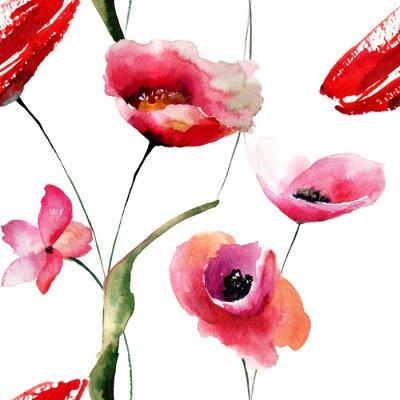 Cuadro Papel pintado inconsútil con las flores de las amapolas
