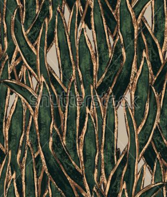 Cuadro Papel pintado pintado a mano de algas. Hierba exótica de patrones sin complicaciones. Ilustración tropical para textil y diseño de superficies.