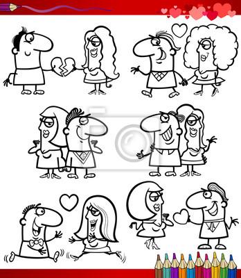 Par en los dibujos animados de amor página para colorear pinturas ...
