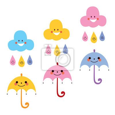 Paraguas Lindos Gotas De Lluvia Ilustración Nubes Personajes Pinturas Para La Pared Cuadros Paraguas Lluvioso Brillo Myloview Es