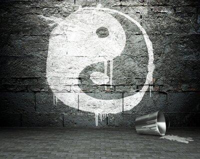Cuadro Pared de la pintada con el yin yang, calle de fondo