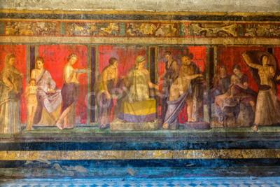 Cuadro Pared pintada en la ciudad de Pompeya destruida en 79BC por la erupción del Monte Vesubio