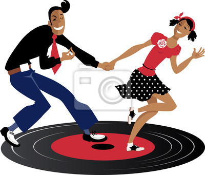 Pareja bailando swing, lindy hop o rock and roll en un registro ...