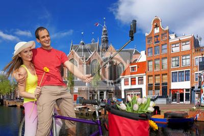 Cuadro Pares que toman Autofoto en Amsterdam, Holanda