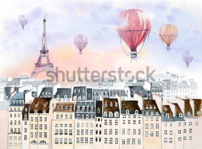 Cuadro París con globo aerostático