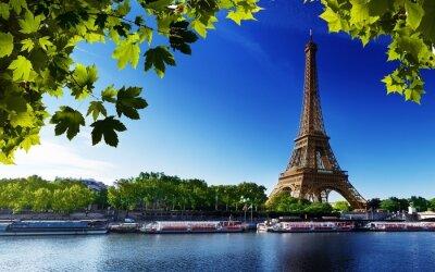 Cuadro Paris eiffel francia río playa árboles