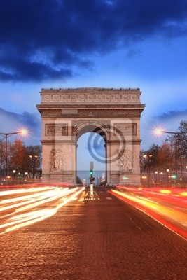 Cuadro París, famoso Arco del Triunfo en la noche, Francia