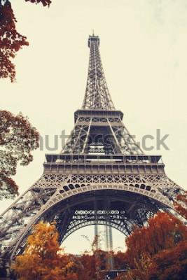 Cuadro París. Magnífica vista gran angular de la Torre Eiffel en la temporada de otoño