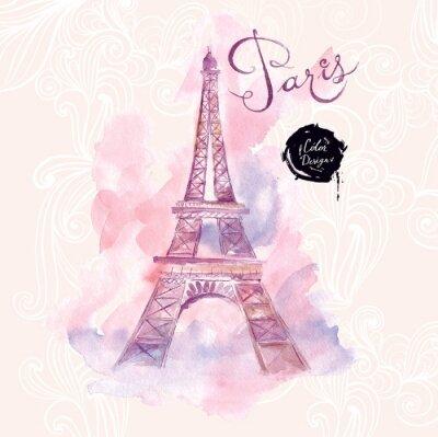 Cuadro París. Vector ilustración de la acuarela