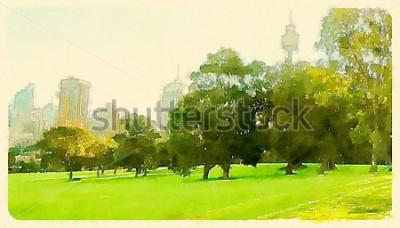 Cuadro Parque Acuarela de Sydney Central Park