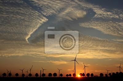 Parque eólico im Aufbau atardecer mit Cirrocumuluswolken