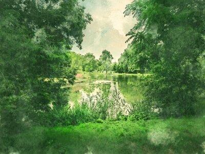 Cuadro Parque verde y lago en Amsterdam. Acuarela. Estilo de la pintura al óleo.