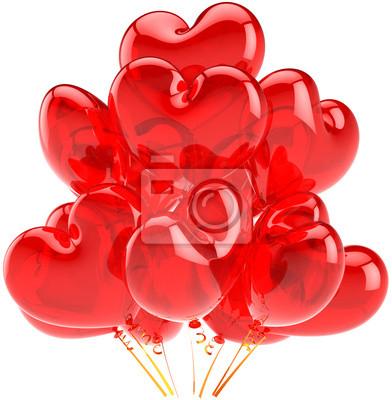 Partido de globos de color rojo traslúcido en forma de corazón decoración Amor