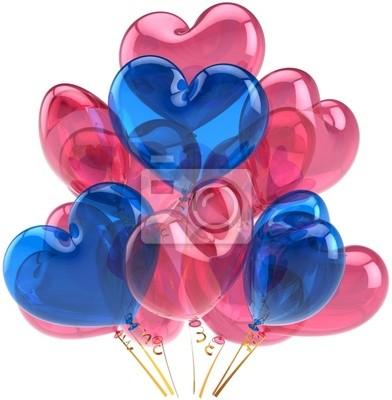 Partido de globos de cumpleaños Amor corazones decoración azul de color rosa