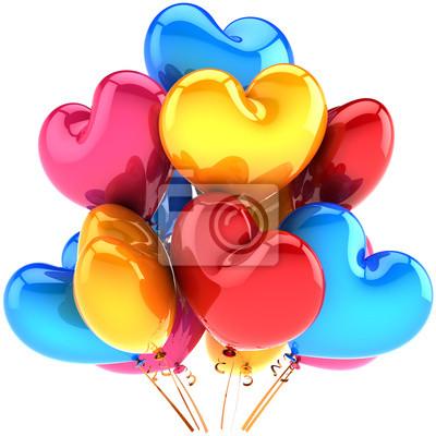 Partido de globos en forma de corazón cumpleaños decoración multicolor