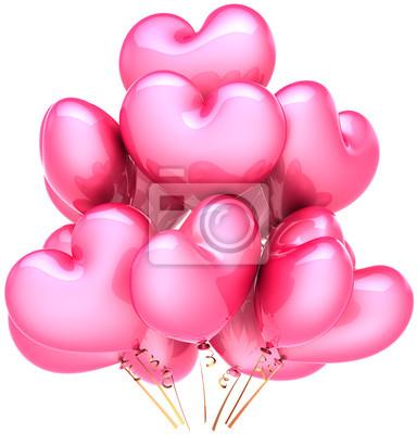 Partido de globos en forma de corazón de color rosa. Amor decoración romántica