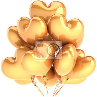 Partido de globos en forma de corazón de oro. Decoración Glamour Amor