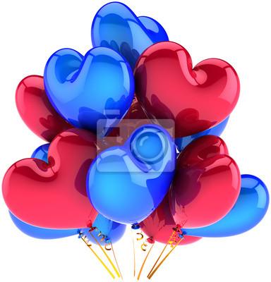 Partido de globos en forma de corazón decoración multicolor rojo azul
