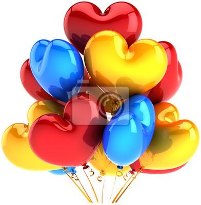 Partido de globos en forma de corazones cumpleaños decoración multicolor