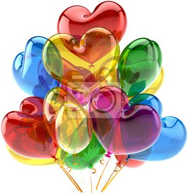 Partido de globos feliz cumpleaños decoración aniversario como corazones