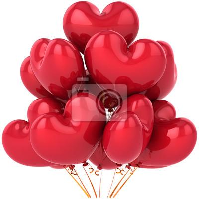 Partido de globos rojos en forma de corazón cumpleaños festejo decoración