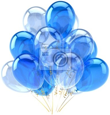 Partido globos azul translúcido cian. Decoración de cumpleaños
