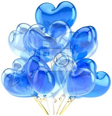 Partido globos azul translúcido cian en forma de corazón formas