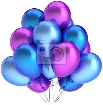 Partido globos coloridos cian azul púrpura. Decoración moderna
