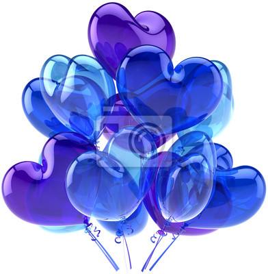 Partido globos decoración de cumpleaños en forma de corazones azules