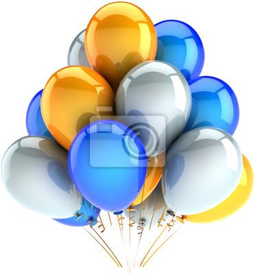Partido globos decoración de feliz cumpleaños azul, amarillo, blanco