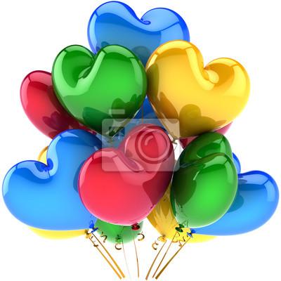 Partido globos decoración de feliz cumpleaños en forma de corazón