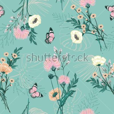 Cuadro Pastel de moda de muchos tipos de flores de jardín, plantas, botánico, mariposa, diseño vectorial de patrones sin fisuras para la moda, tela, papel tapiz y todos los estampados en color de fondo de me