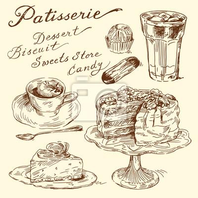 pasteles, galletas, café - elementos dibujados a mano
