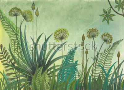 Cuadro Pasto verde que crece en la selva. ilustración pintada con acuarelas