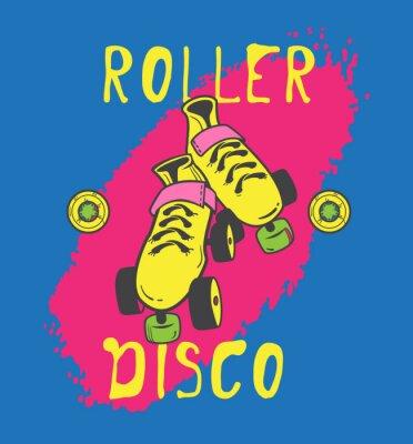 Cuadro Patín de ruedas y diseño gráfico roller_disco para la camiseta
