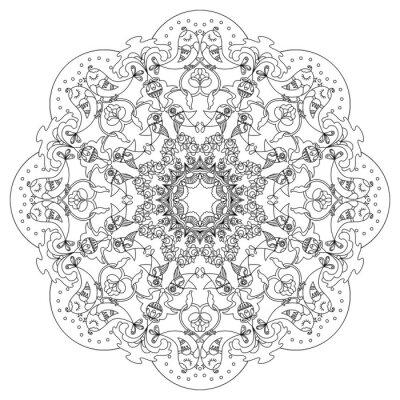 Cuadro Patrón circular con pájaros y flores en estilo Doodle